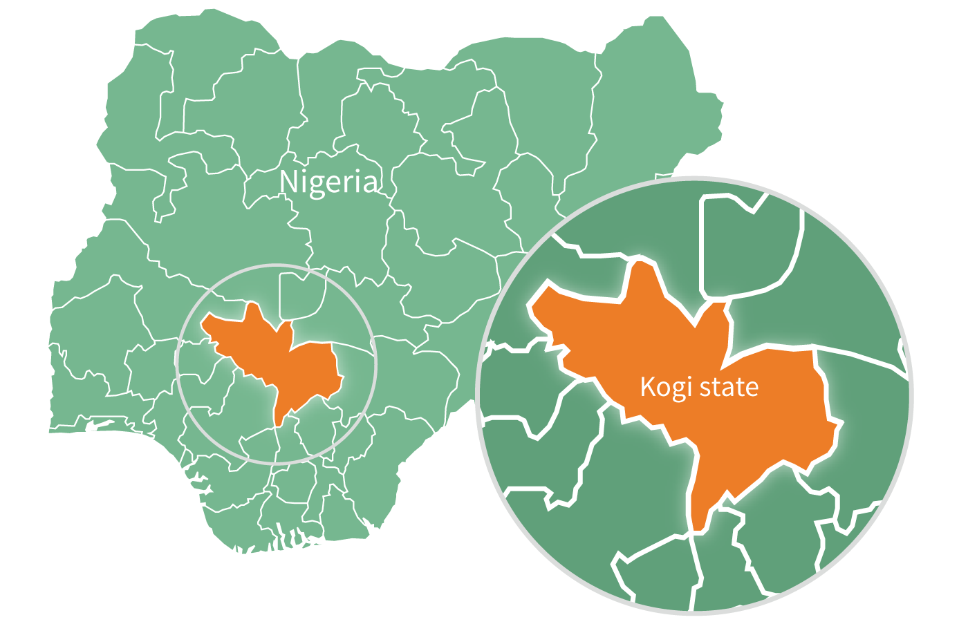 Nigeria map featuring Kogi state