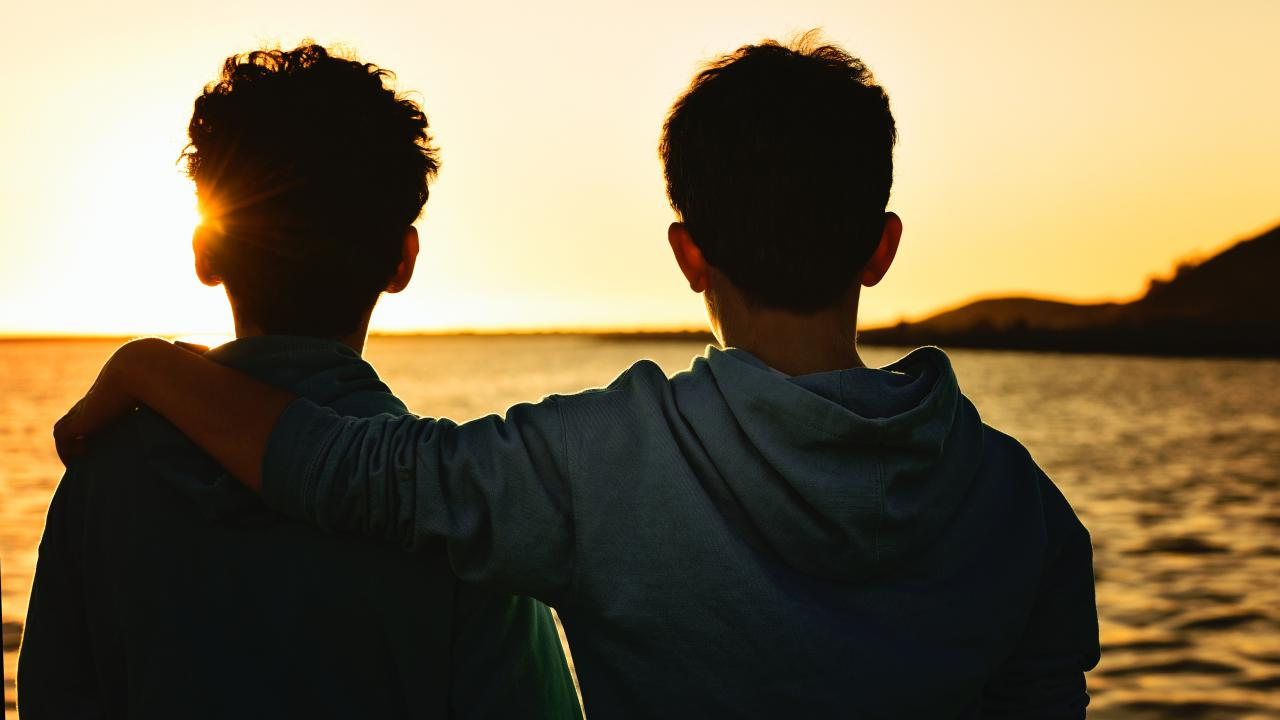 brothers in sunset