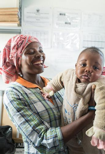 Mother and child in maternal and child health clinic in Namibia